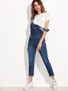 Blue Strap Ripped Overall Jeans With Pocket