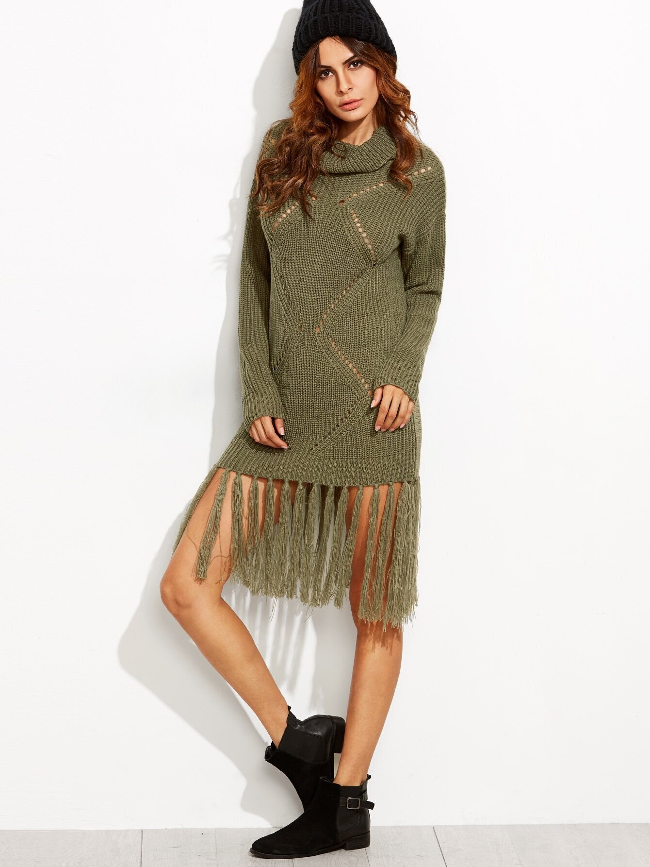 693478656ef Olive Green Eyelet Geometric Knit Fringe Trim Sweater Dress ...