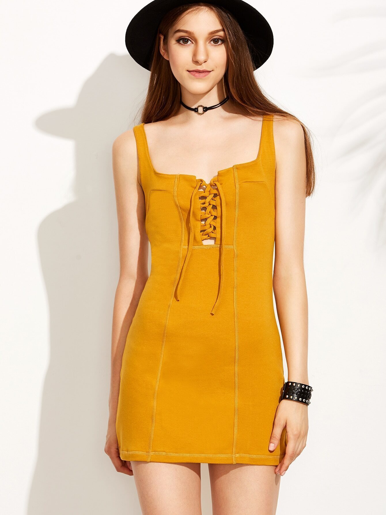 e7d87a7f459 Yellow Lace Up V Back Sheath Dress EmmaCloth-Women Fast Fashion Online