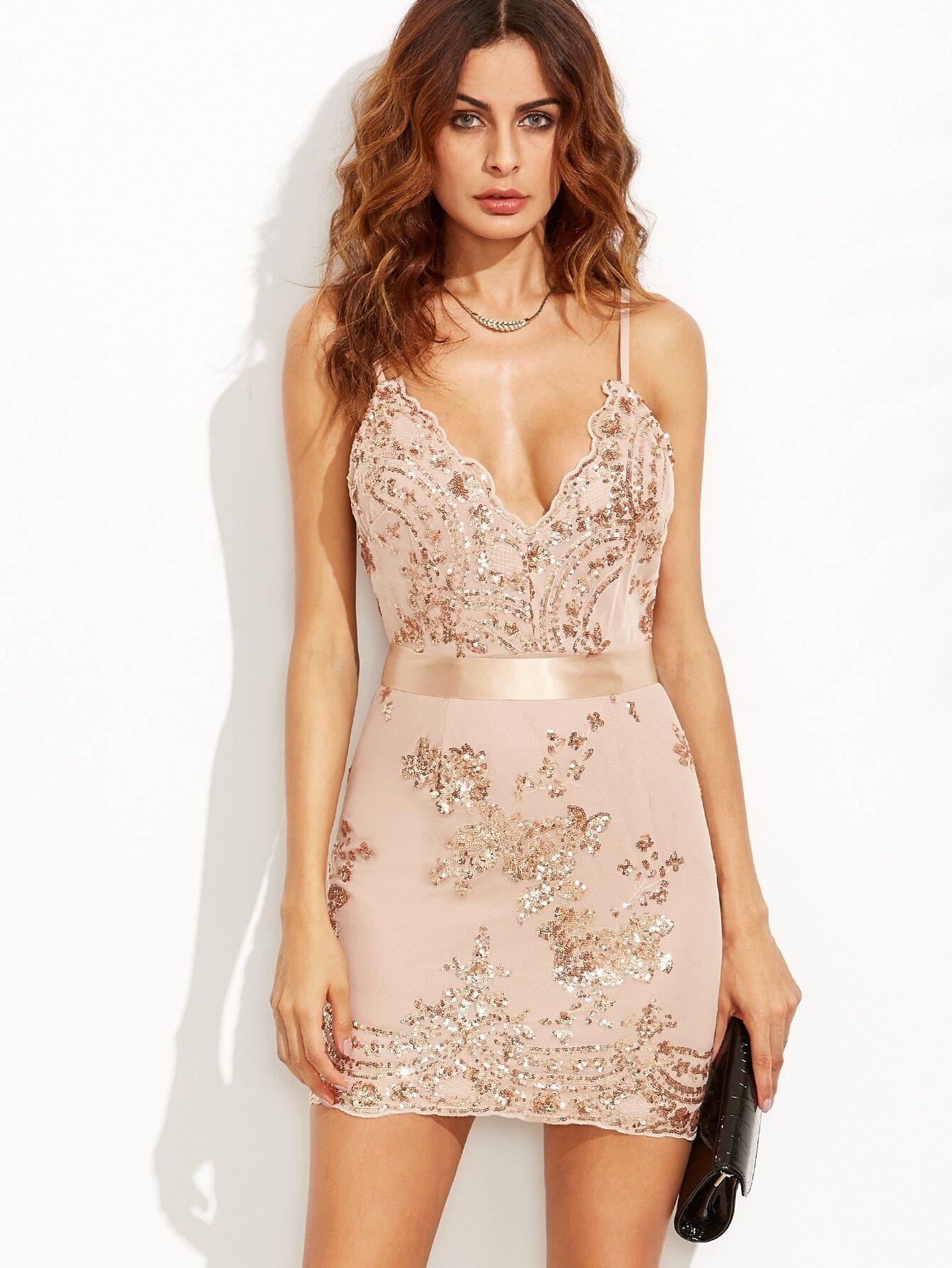 f8802904afc3 Gold Spaghetti Strap Open Back Sequins Bodycon Dress EmmaCloth-Women ...