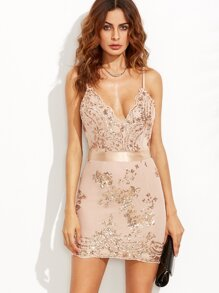 Gold Spaghetti Strap Open Back Sequins Bodycon Dress