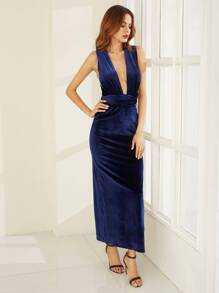Blue High Slit Velvet Convertible Dress