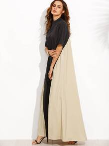 Color Block Mock Neck Maxi Tent Dress