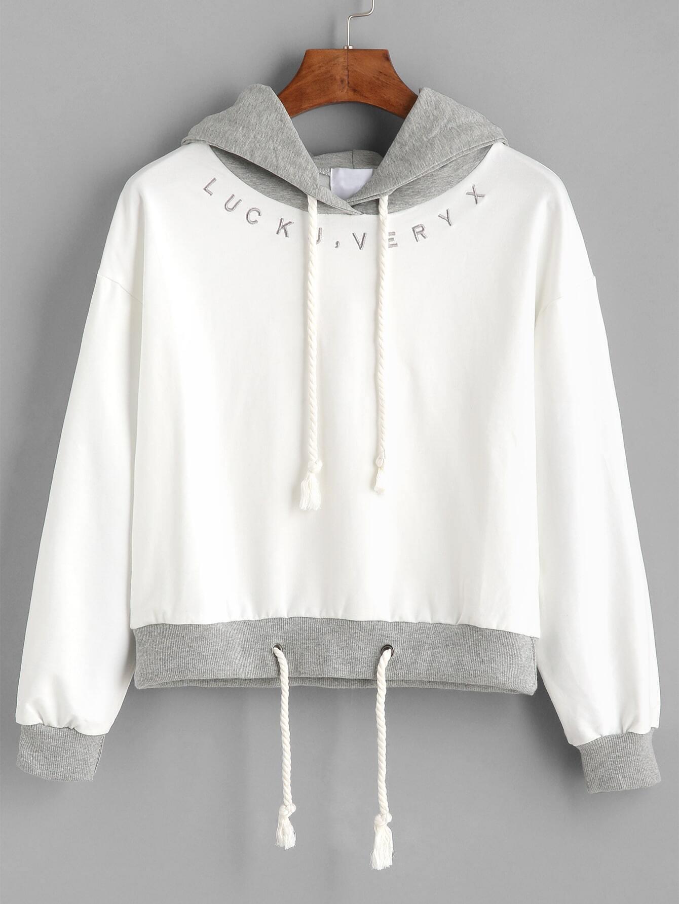 27688582ce62e Beige Contrast Drawstring Hooded Sweatshirt EmmaCloth-Women Fast ...