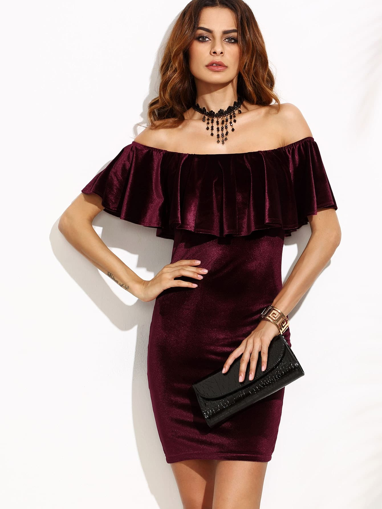 9617b6973a7 Burgundy Ruffle Off The Shoulder Velvet Bodycon Dress EmmaCloth ...