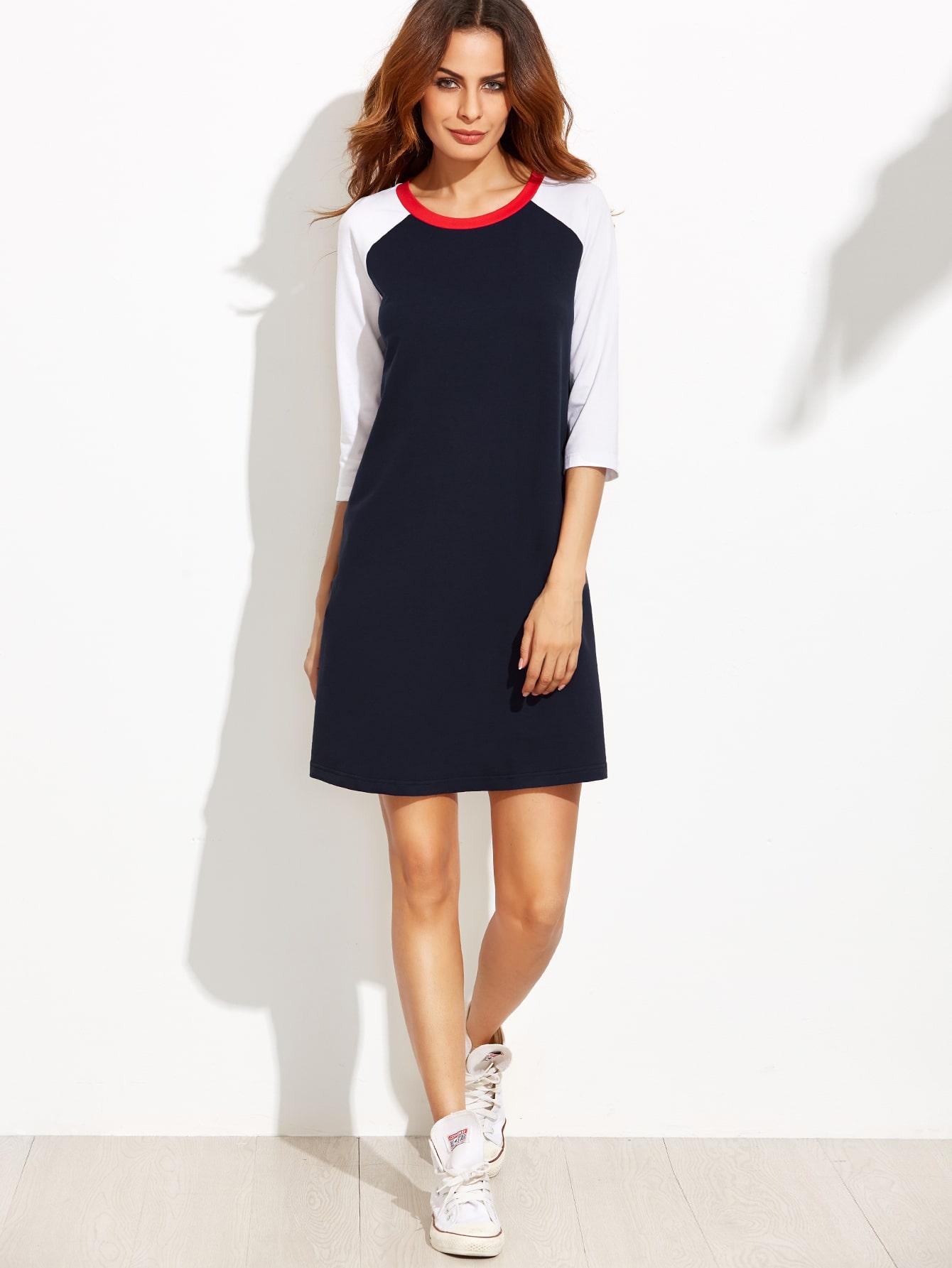 a22e18e795 Navy Contrast Raglan Sleeve T-shirt Dress EmmaCloth-Women Fast ...