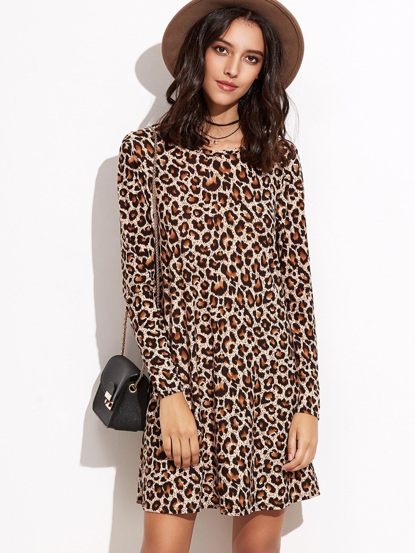 bef5126284a6 Leopard Print Shift Tee Dress EmmaCloth-Women Fast Fashion Online