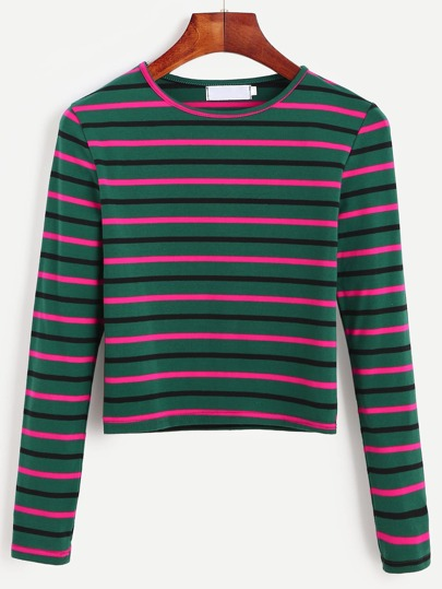 96d0fedfb8f Dark Green Striped Long Sleeve T-shirt EmmaCloth-Women Fast Fashion Online
