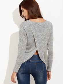 Grey Marled Knit Split Back T-shirt