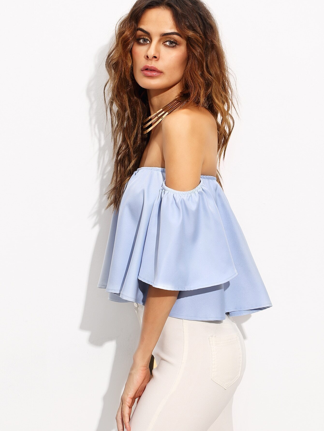 b97fb0c5cb315 Blue Off The Shoulder Bell Sleeve Crop Top EmmaCloth-Women Fast Fashion  Online