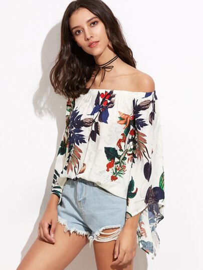 White Tropical Print Off The Shoulder Bell Sleeve Top
