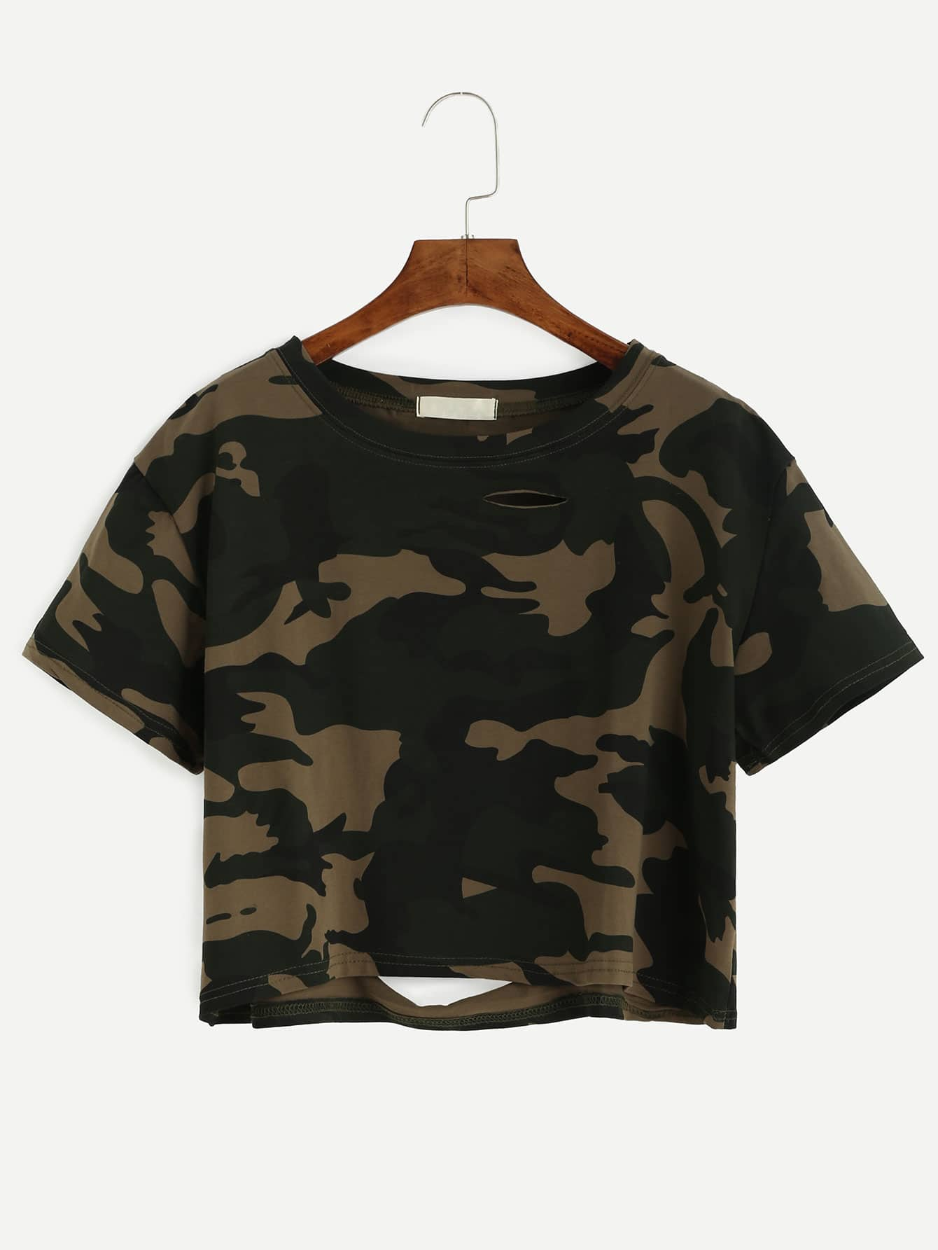 978c5e0ccb Camo Print Distressed Crop T-shirt EmmaCloth-Women Fast Fashion Online