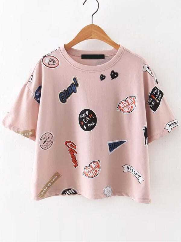09531870fe3 Pink Round Neck Printed Short Sleeve T-Shirt EmmaCloth-Women Fast Fashion  Online