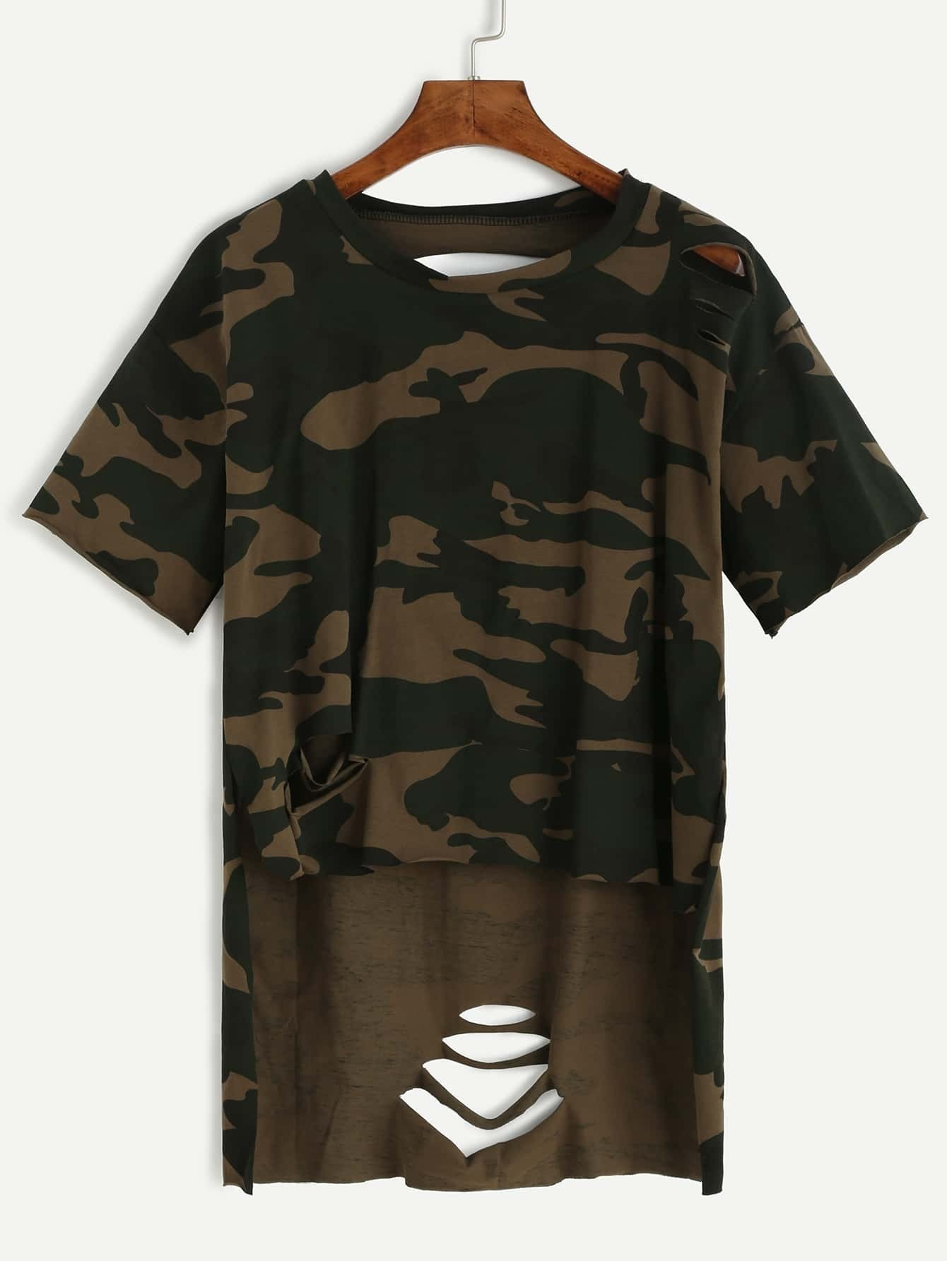f1f8e6e2 Camo Print High Low Distressed T-shirt EmmaCloth-Women Fast Fashion ...