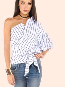 Striped One Shoulder Wrap Around Button Down Top WHITE BLUE
