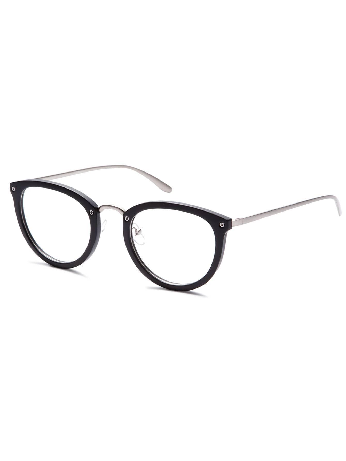 d11acf241f2 Matte Black Frame Silver Arm Glasses EmmaCloth-Women Fast Fashion Online