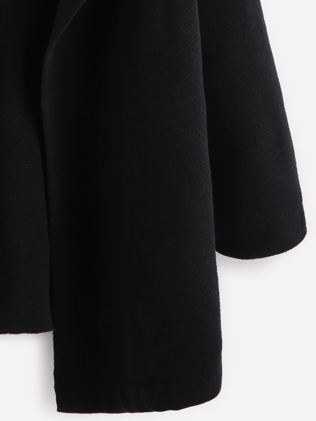 5b54dcc07a Black Notch Collar Open Front Sweater Coat EmmaCloth-Women Fast Fashion  Online