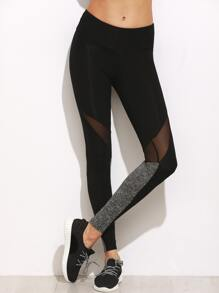 Color Block Mesh Insert Leggings