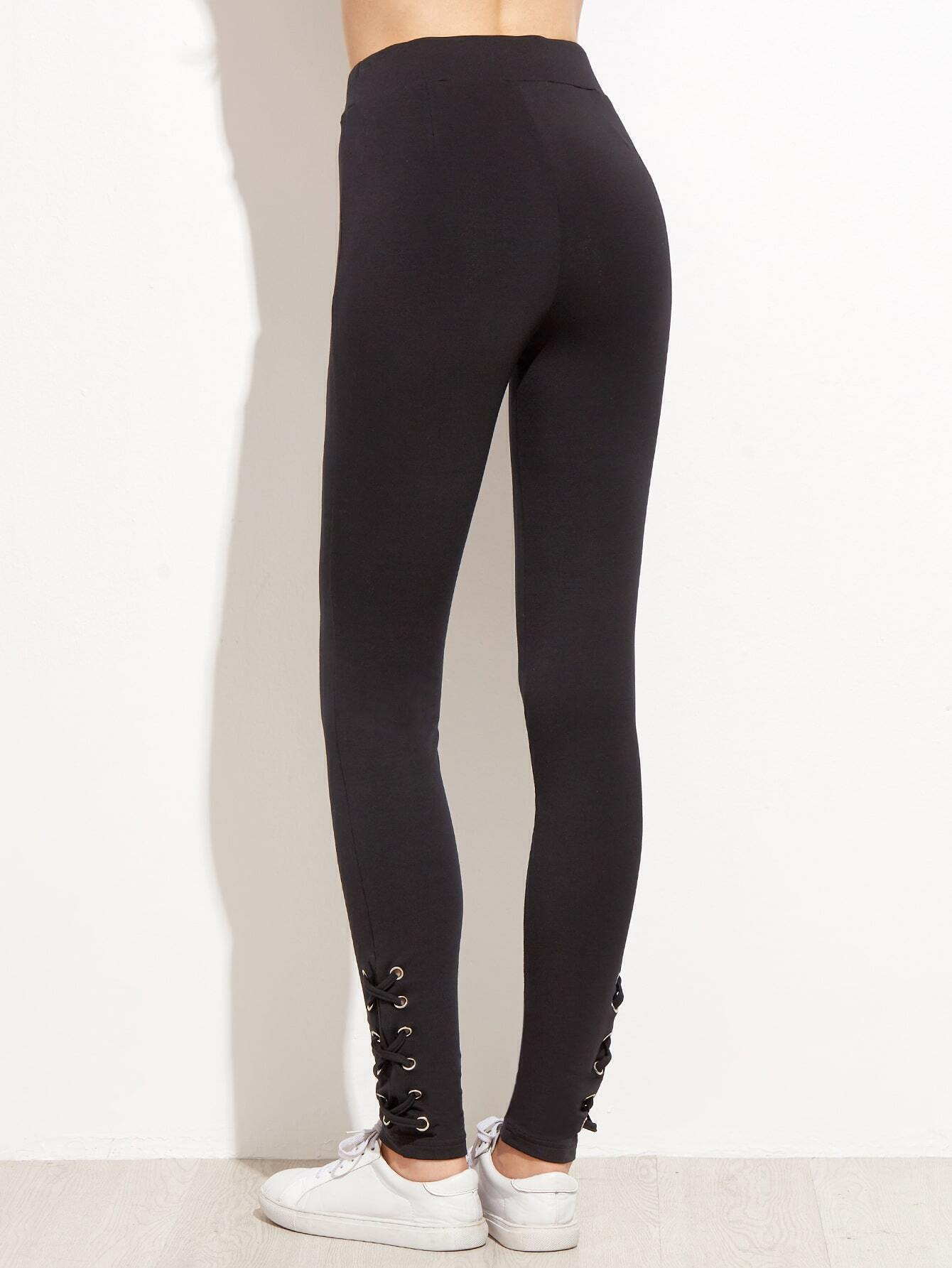 a70096a48c9195 Black Drawstring Waist Eyelet Lace Up Side Leggings EmmaCloth-Women ...