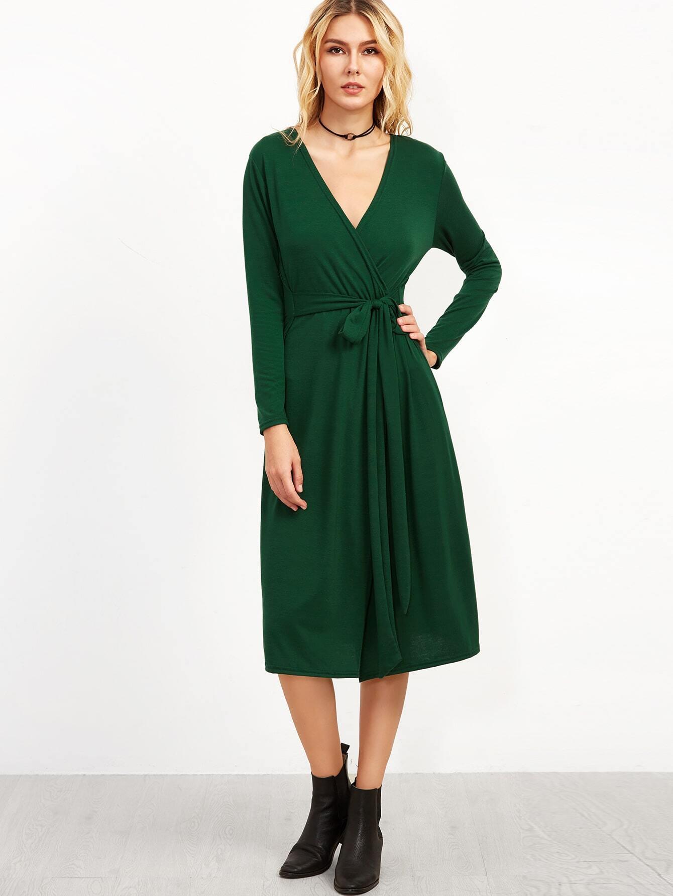 81730ed92c3 Dark Green Deep V Neck Wrap Dress EmmaCloth-Women Fast Fashion Online
