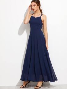 2bb237c3dd854 Navy Lace Up Back Cami Dress EmmaCloth-Women Fast Fashion Online
