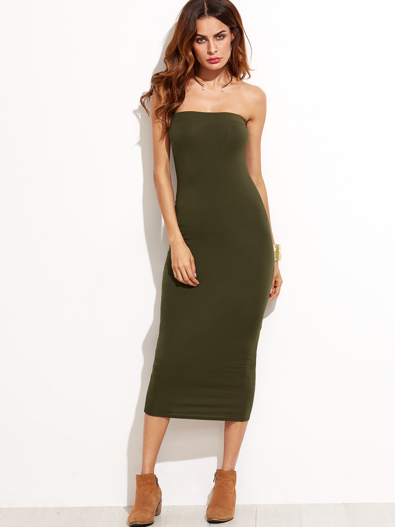 3d6d1a1ed7ebe4 Army Green Sheath Tube Dress EmmaCloth-Women Fast Fashion ...
