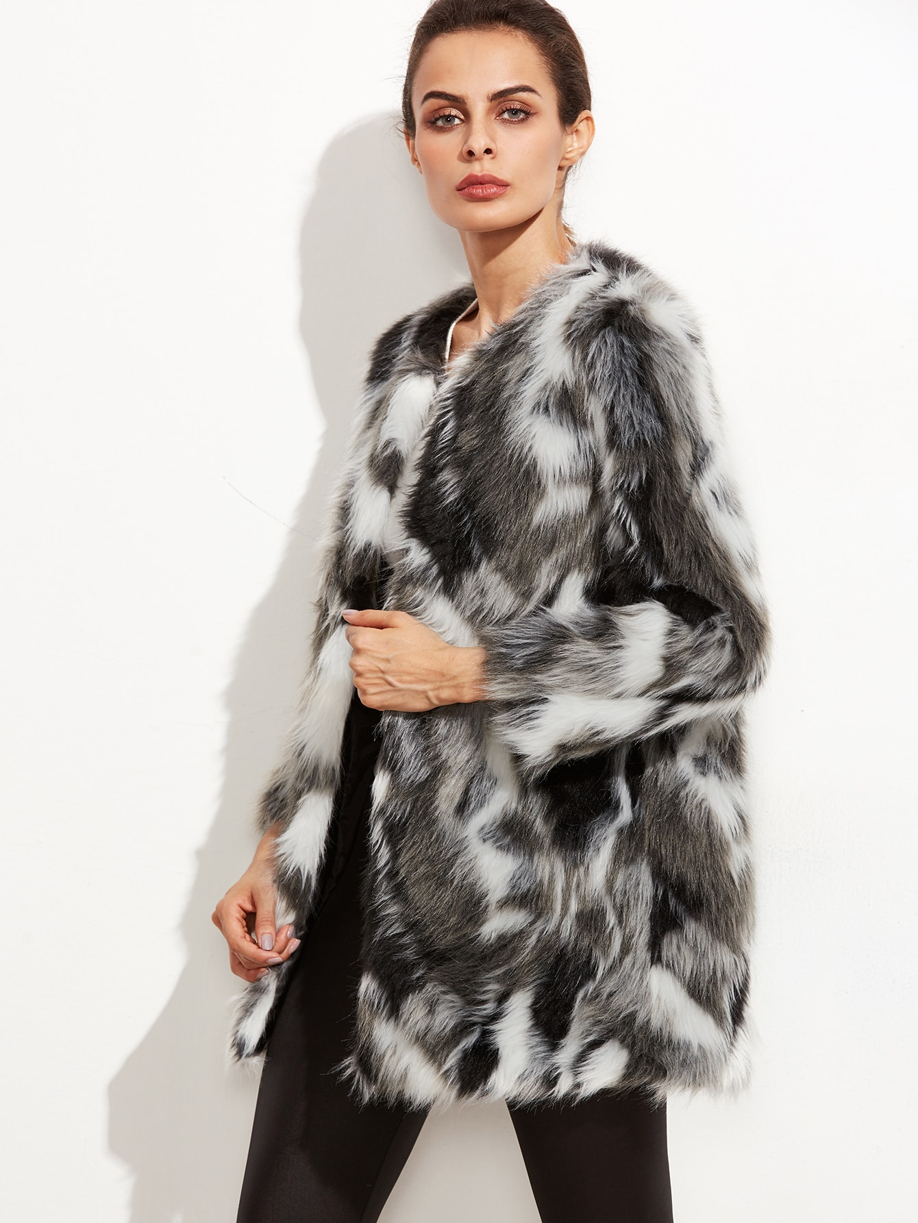 22a2f34bed Multicolor Faux Fur Collarless Coat EmmaCloth-Women Fast Fashion Online