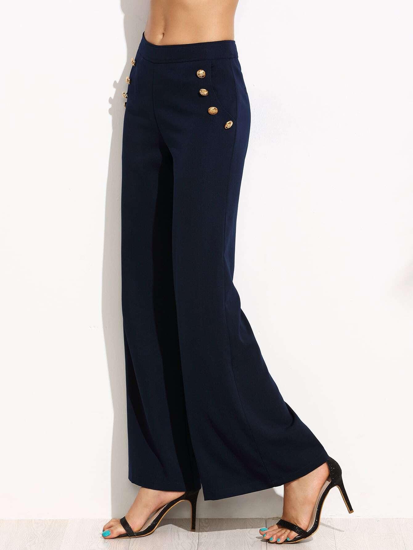 Navy Wide Leg Sailor Pants Emmacloth Women Fast Fashion Online