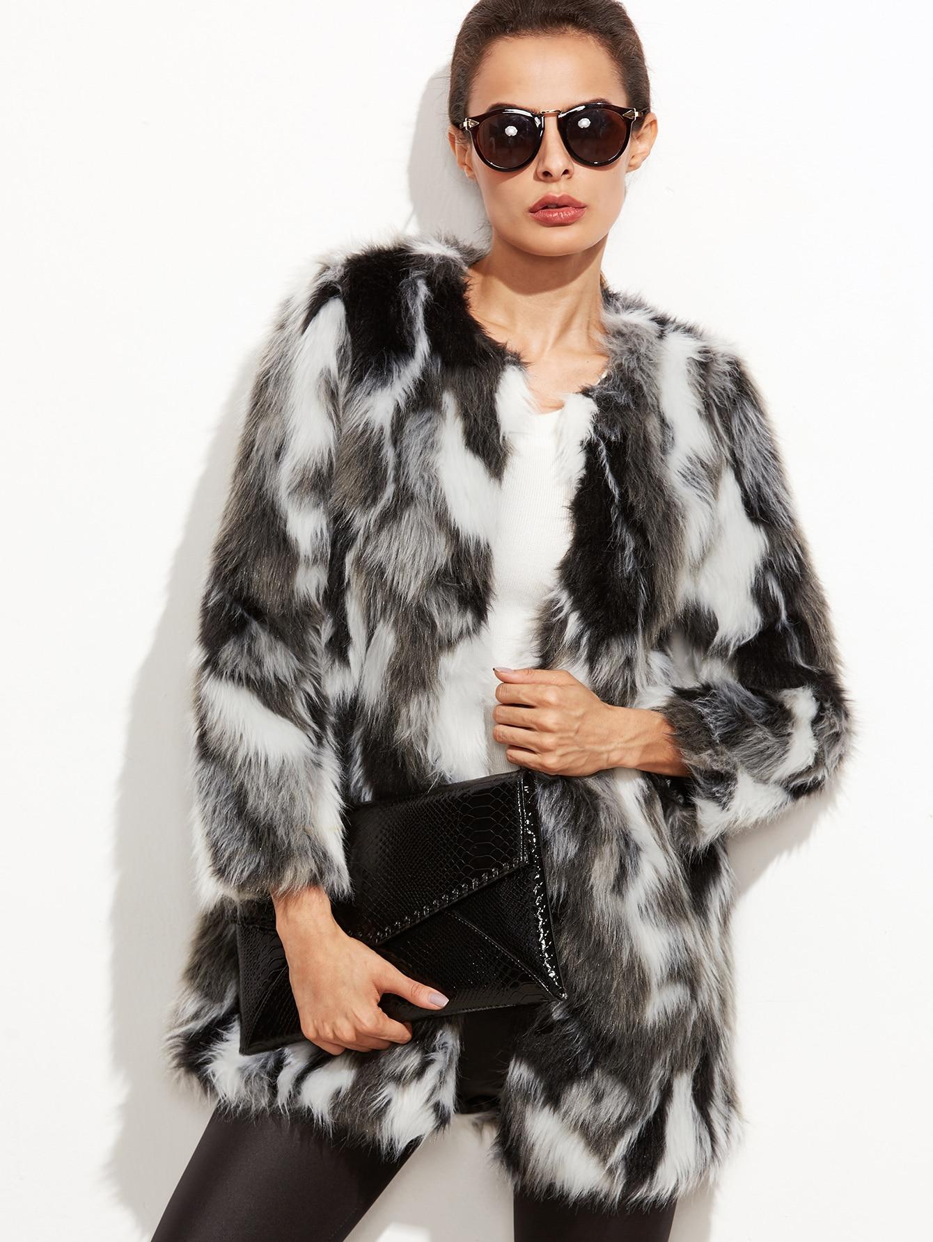 cd8c536b9cb Multicolor Faux Fur Collarless Coat EmmaCloth-Women Fast Fashion Online