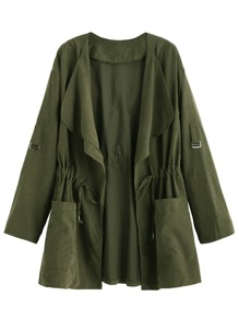 Olive Green Drape Collar Drawstring Coat