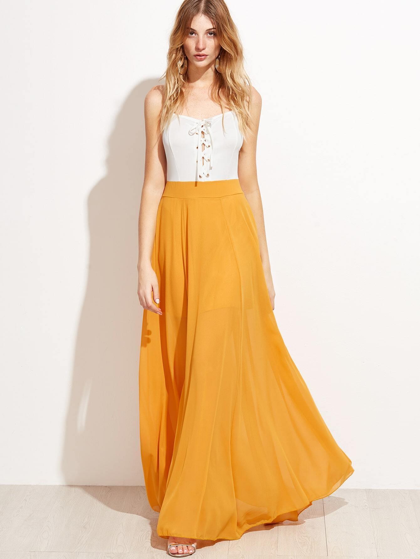 0933f44bd9a Yellow Contrast Eyelet Lace Up Split Slip Dress EmmaCloth-Women Fast ...