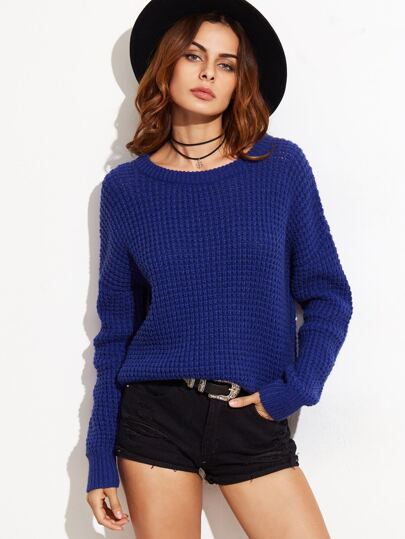 Blue Drop Shoulder Waffle Knit Sweater