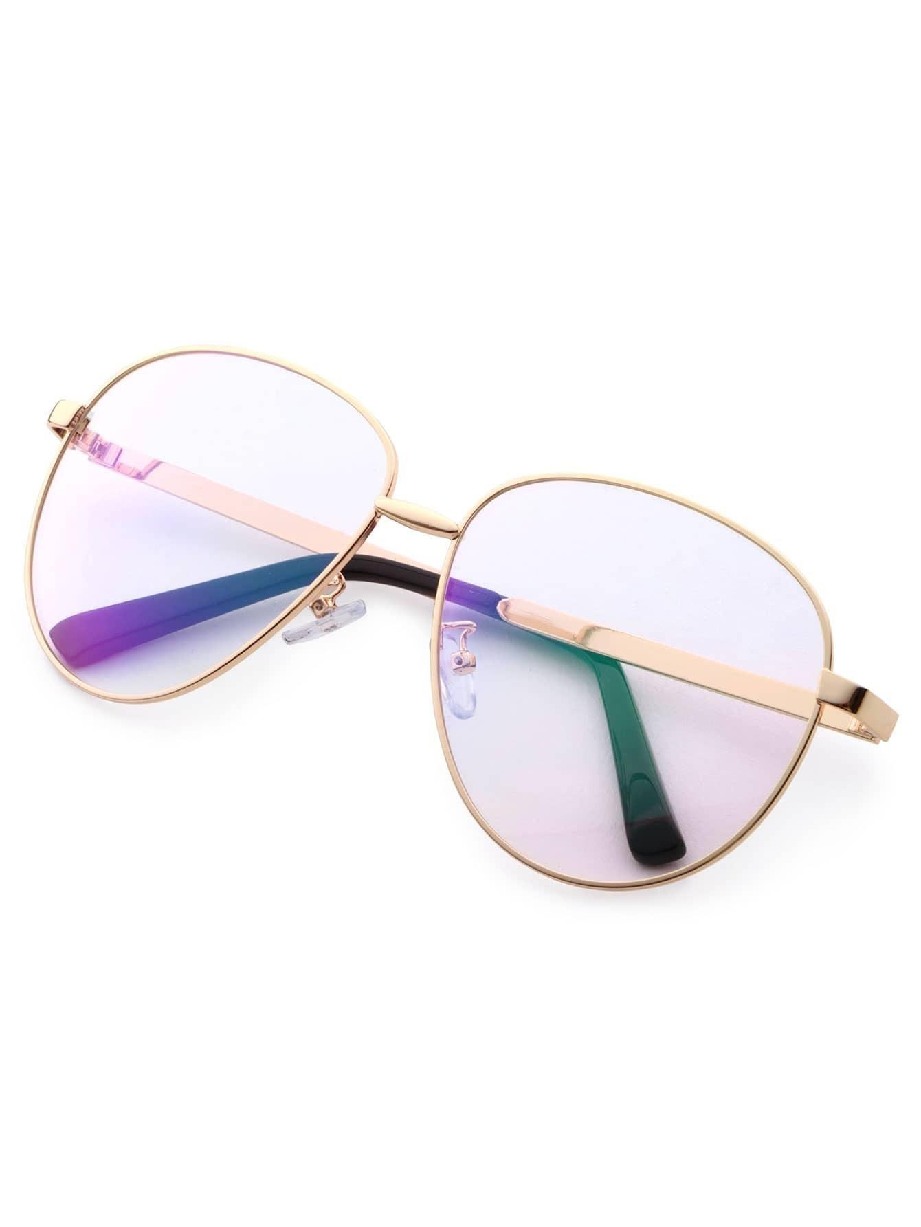 0070e5bbabbc Gold Frame Large Lens Vintage Glasses EmmaCloth-Women Fast Fashion Online