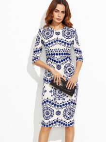 Blue And White Porcelain Print Pencil Dress