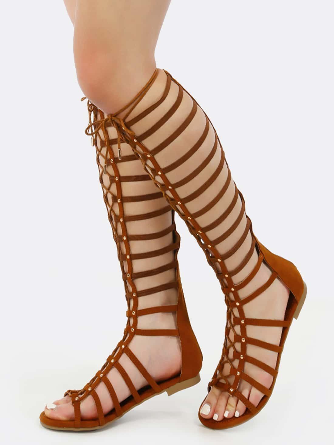 a29ef39b282f Studded Elastic Gladiator Sandals COGNAC EmmaCloth-Women Fast ...
