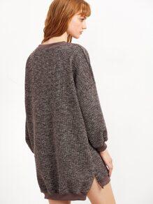 Sweatshirt kleid vorne kury hinten lang khaki emmacloth for Sweatshirt kleid lang