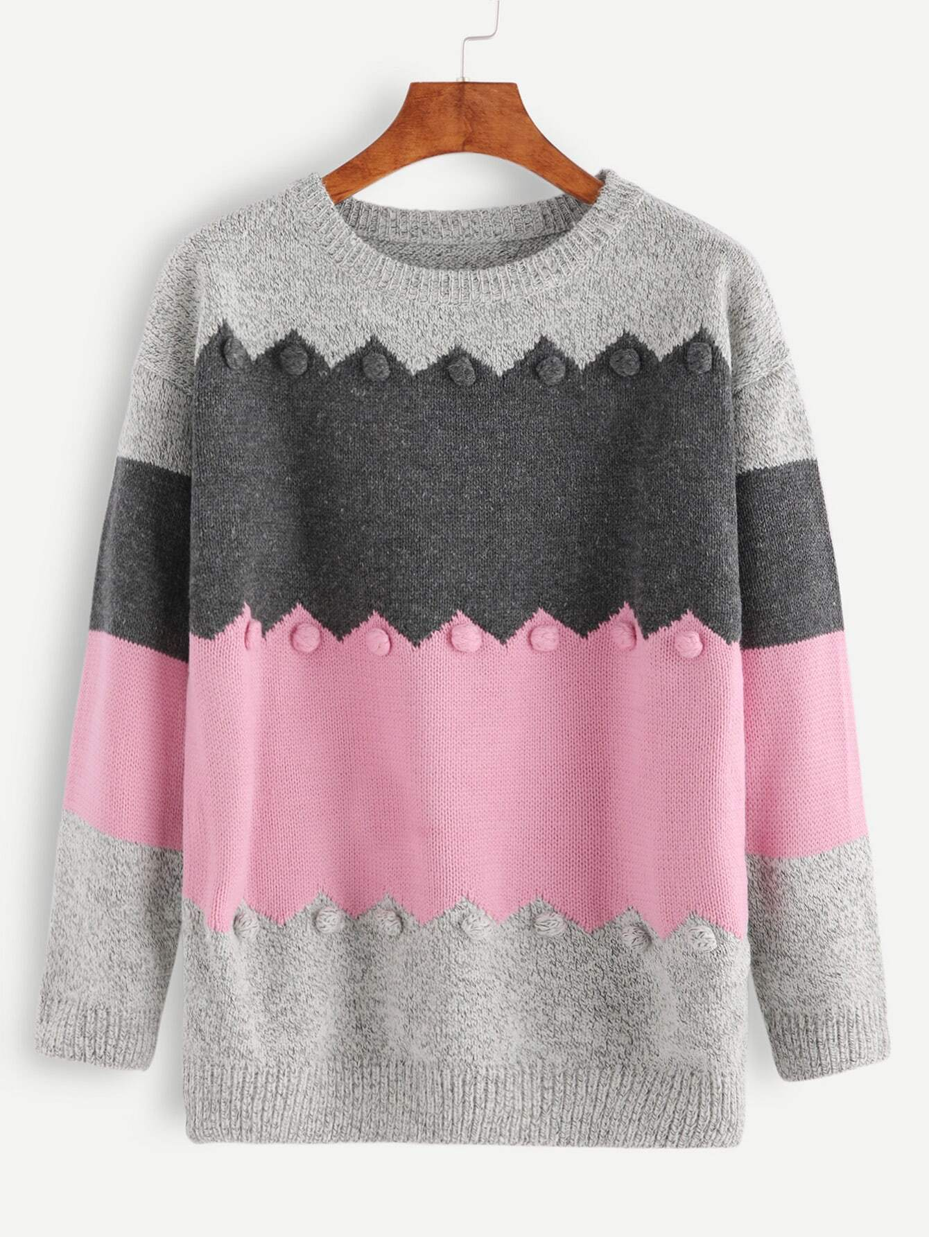 f6ff9d2166 Color Block Marled Knit Pom Pom Embellished Sweater EmmaCloth-Women ...
