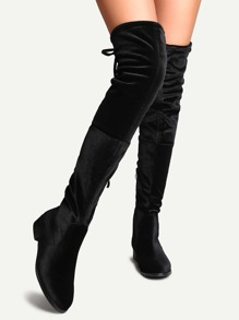 Black Faux Suede Side Zipper Tie Back Over The Knee Boots