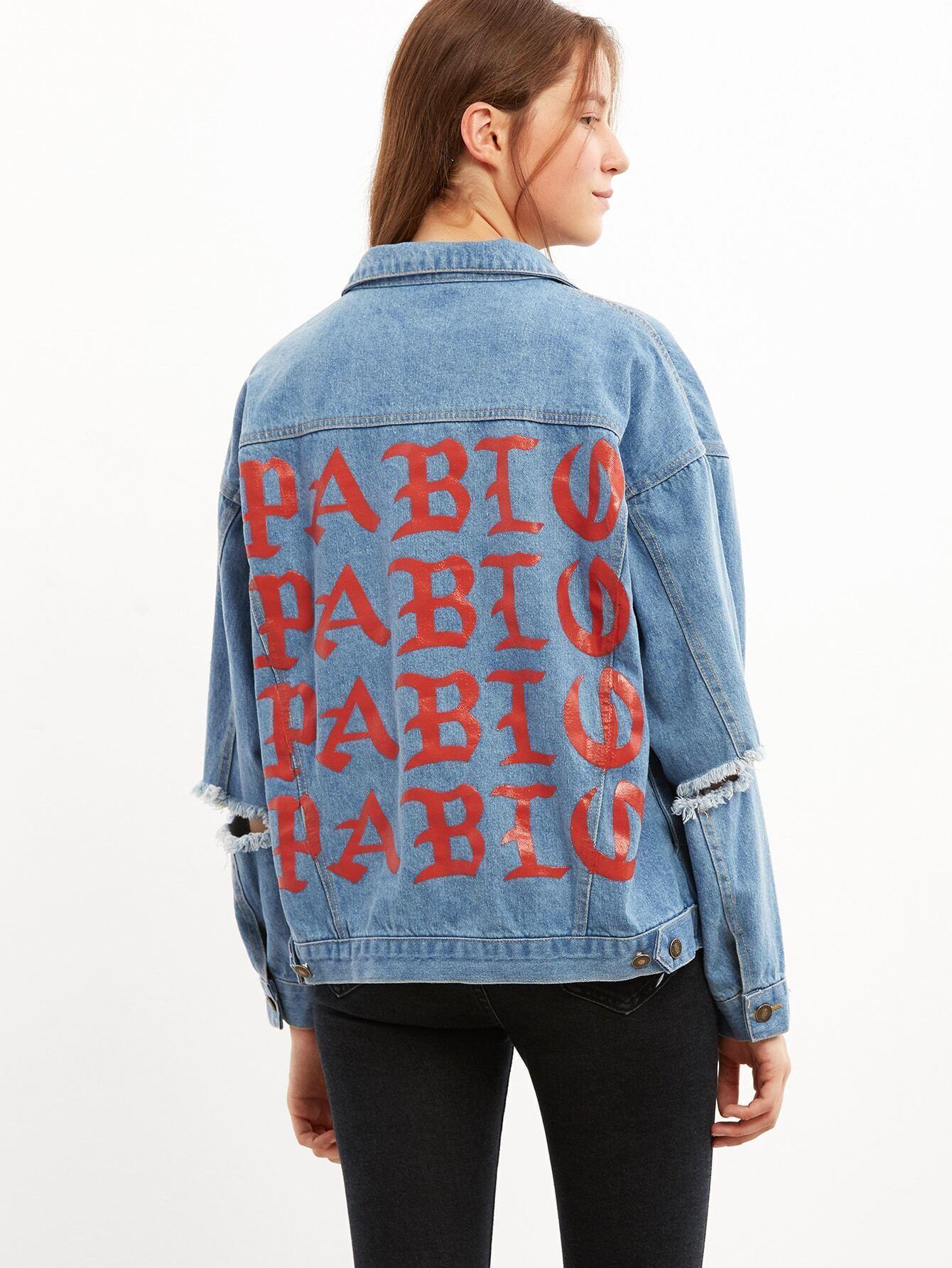 f83d937745 Blue Letter Print Ripped Denim Jacket EmmaCloth-Women Fast Fashion ...