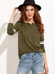 Olive Green Button Neck Varsity Striped Sleeve T-shirt