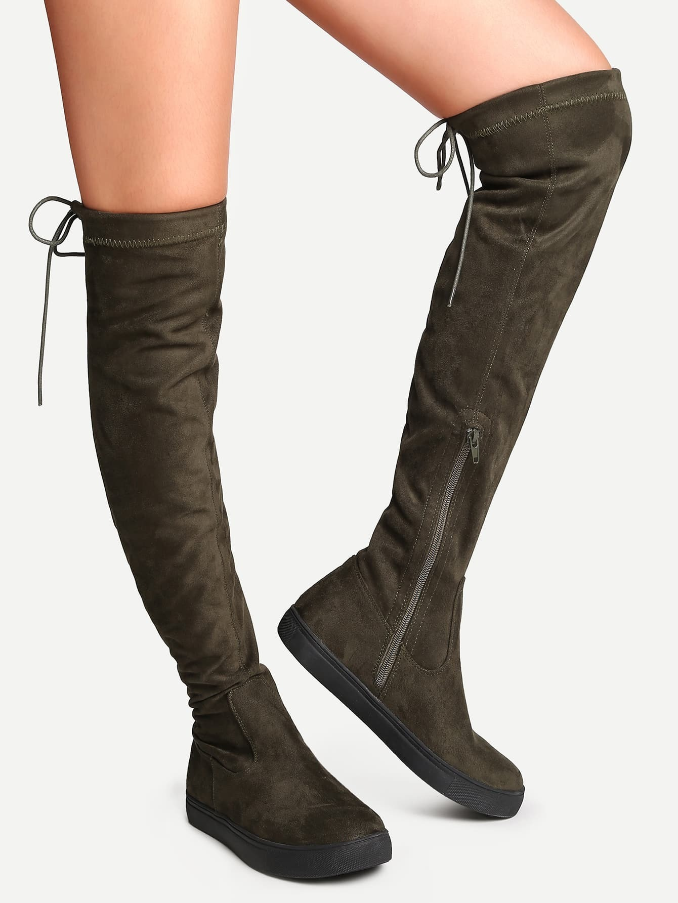 694789d278 Army Green Round Toe Tie Back Over The Knee Boots EmmaCloth-Women ...