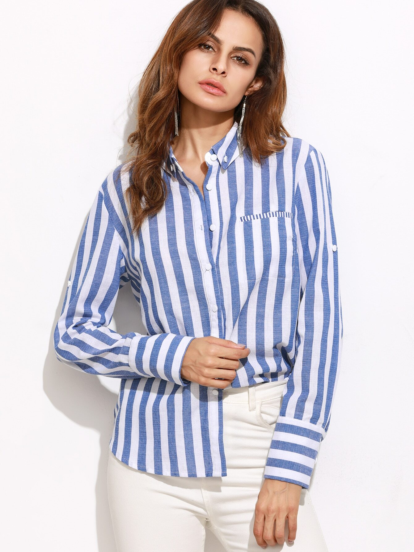 b00ea24656 Blue Vertical Striped Roll Sleeve Blouse EmmaCloth-Women Fast ...