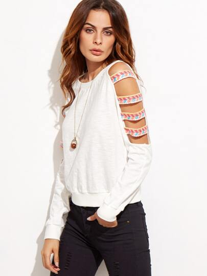 White Ladder Cutout Sleeve Embroidered Sweatshirt pictures