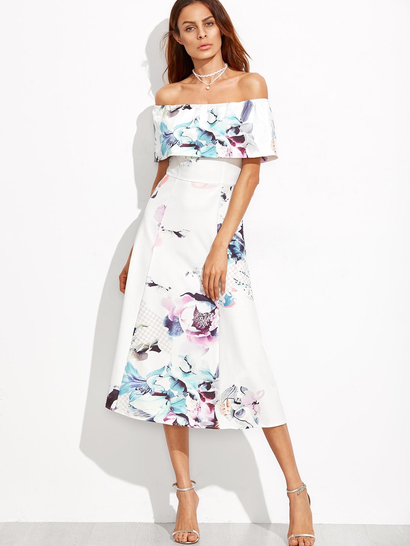 7307b5b9f552 Off The Shoulder Floral A-Line Dress EmmaCloth-Women Fast Fashion Online