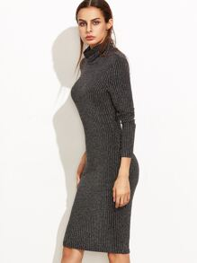 31547ce7f2 Black Marled Knit Cowl Neck Ribbed Pencil Dress EmmaCloth-Women Fast ...