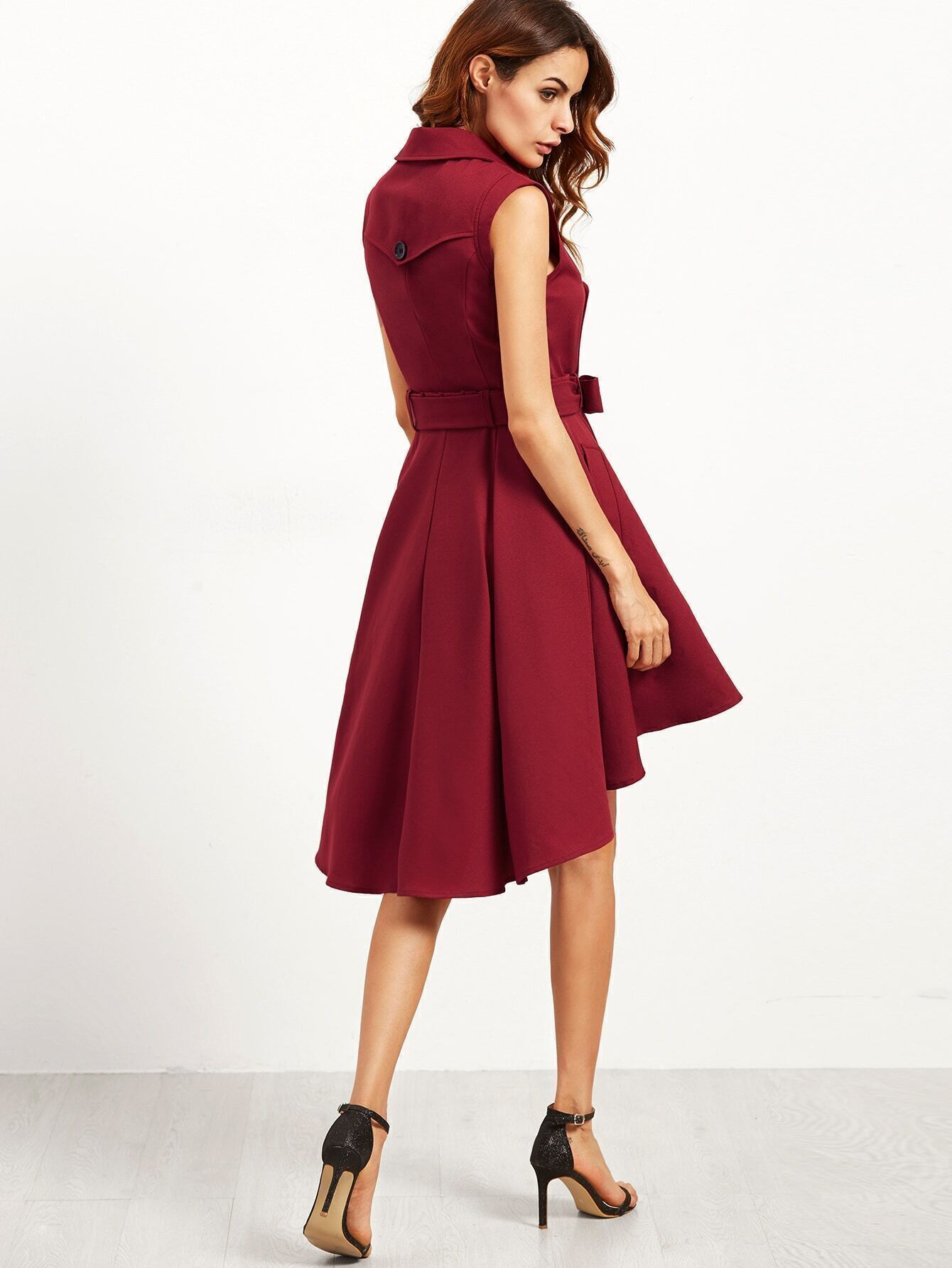 4fb099983163a Burgundy Double Breasted Belted Sleeveless Trench Dress EmmaCloth-Women  Fast Fashion Online
