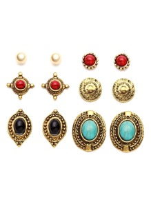 Antique Gold Carved Gemstone Stud Earrings Set