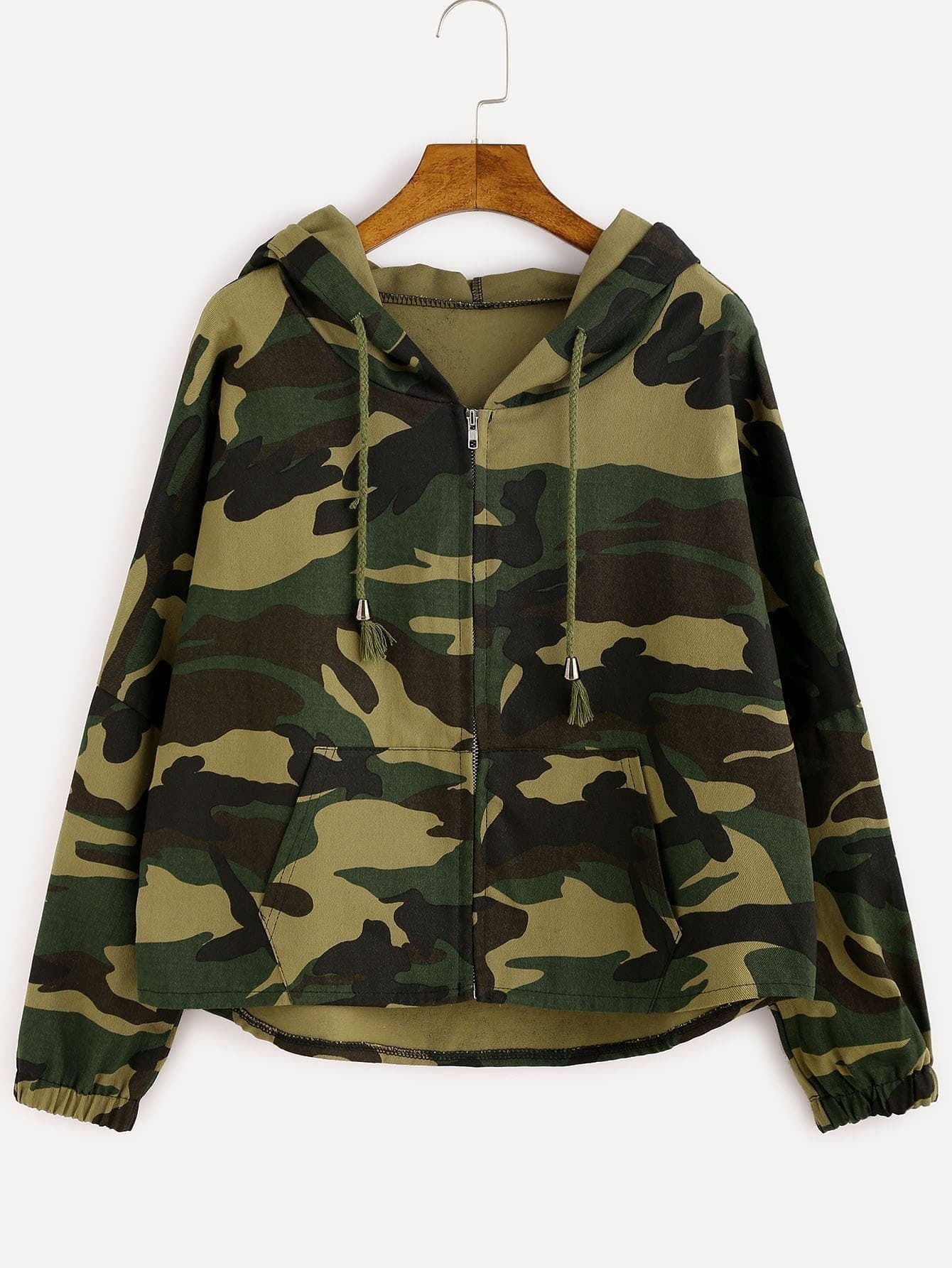 0655bbb5959be Camo Letter Print High Low Hooded Coat EmmaCloth-Women Fast Fashion ...