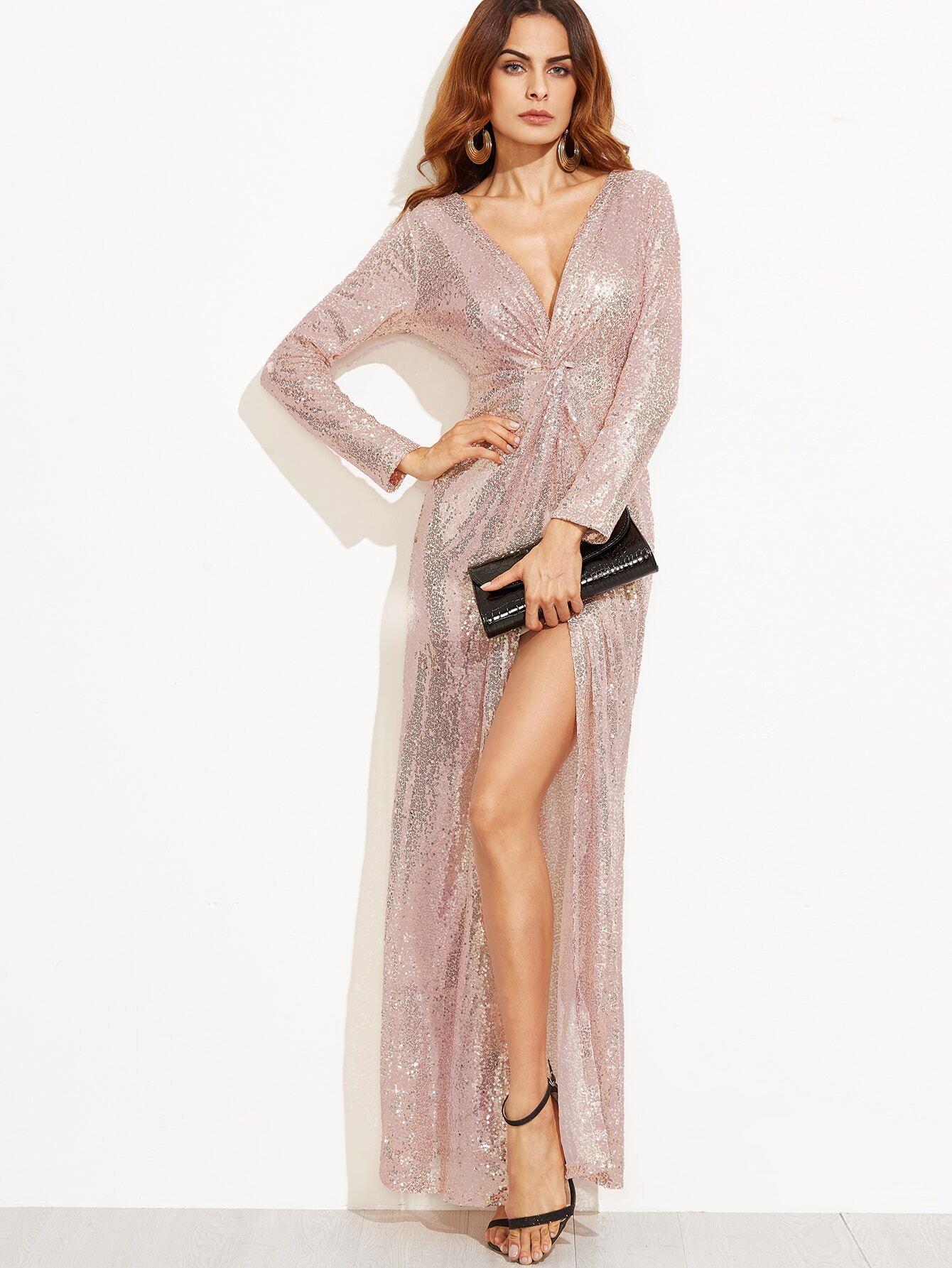 3afaf64e03 Deep V Neck Twist Front High Slit Sequin Dress EmmaCloth-Women Fast ...