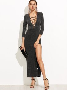 Black Lace Up Plunge Neck High Slit Sparkle Dress